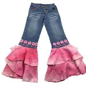 Lipstik Girls Jeans Ruffled Pink Hem Embroidered 8